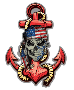 Salt Devils - American Skull Anchor Decal
