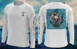 Salt Devils - Shark Anchor Blue Long Sleeve Performance Shirt