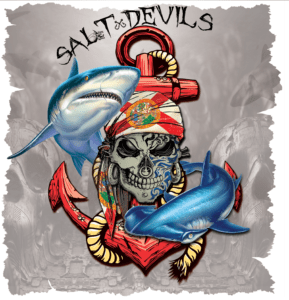 Salt Devils - Florida Shark Anchor Metal Skull Long Sleeve Performance Shirt