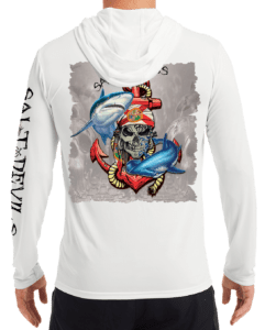 Salt Devils - Florida Shark Anchor Metal Skull Performance Hoodie