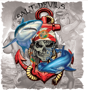 Salt Devils - Shark Anchor Metal Skull Girl Short Sleeve Performance Shirt