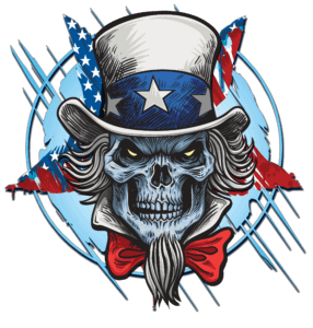 Salt Devils - Patriot Skull Long Sleeve Performance Shirt